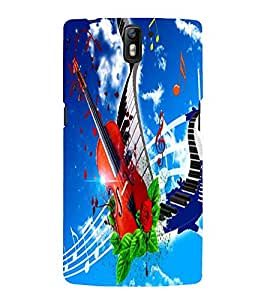 Fuson Premium Back Case Cover Stylish Violin With Multi Background Degined For One Plus One::One Plus1