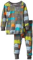 Tea Collection Baby-Boys Newborn Transportation Long Sleeve Pajama Set, Thunder, 6-12 Months
