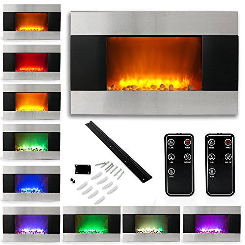 "35"" Electric Fireplace Heater 1500W Stainless Steel Color Changing Led Back Light"