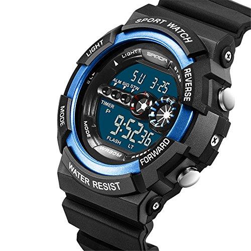 Coolor Giacca Impermeabile Orologio Sportivo Multifunzione LCD luce orologi da polso digitale spedizione gratuita, black & blue