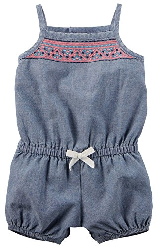 Carter's Baby Girls' Chambray Romper (12 Months, Multi Embroidered)