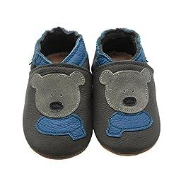 Sayoyo Baby Bear Soft Sole Leather Infant Toddler Prewalker Shoes (18-24 months, Grey)