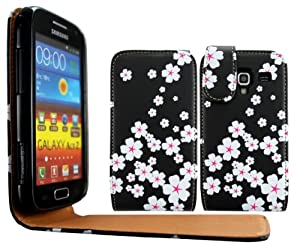cellmax Samsung Galaxy Ace 2 I8160 Leather Flip Protection Case Cover Pouch With Solid Build In Phone Holder Housing White Blossom Flower Pattern