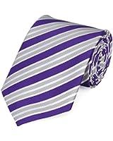 Cravate de Fabio Farini à rayures en lilas-argent-blanche