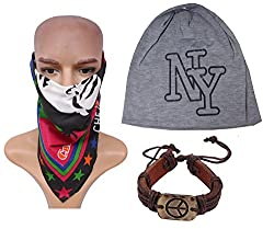 Sushito College Grey Beanies Cap With Stylish Headwrap & Wrist Band