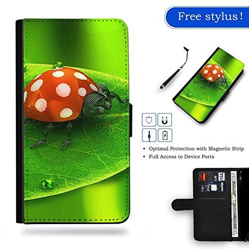 Nuovo Pelle Portafoglio della copertura della cassa borsa Custodia protettiva Samsung Galaxy S6 Edge // ladybug on green leaf ladybug on green leaf Gift Shopping