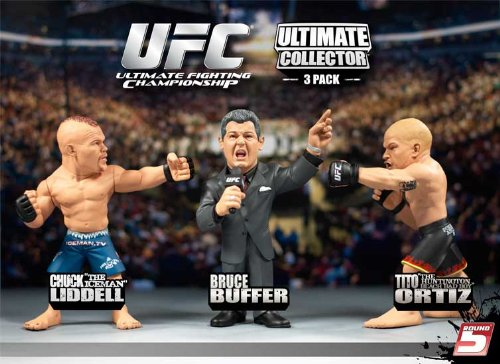 Round 5 UFC Versus Exclusive Action Figure 3Pack Chuck Liddell Vs. Tito Ortiz with Bruce Buffer Red Tie