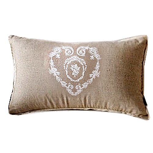 New Beige Vintage Print Heart Flora Decorative Country Art Lumbar Cushion Cover