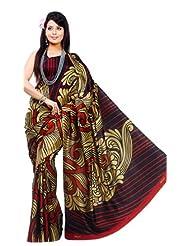 Sunaina Synthetic Brown/Black Printed Saree