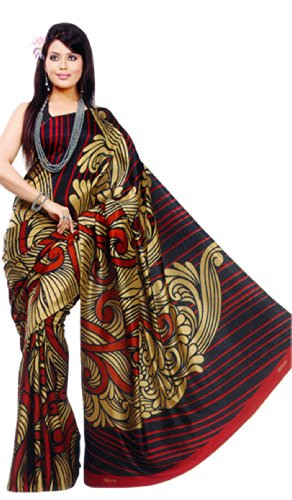 Sunaina Synthetic Brown/Black Printed Saree