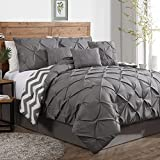 Geneva Home Fashion 7-Piece Ella Pinch Pleat Comforter Set, Queen, Grey