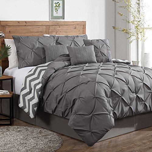 Find Cheap Geneva Home Fashion 7-Piece Ella Pinch Pleat Comforter Set, Queen, Grey
