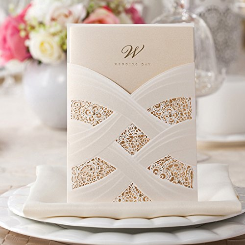 Wishmade 50pcs Elegant Ivory Laser Cut Wedding Invitations Cards With Lace Flower Pocket Design Marriage Anniversary Engagement Card invites (set of 50pcs)