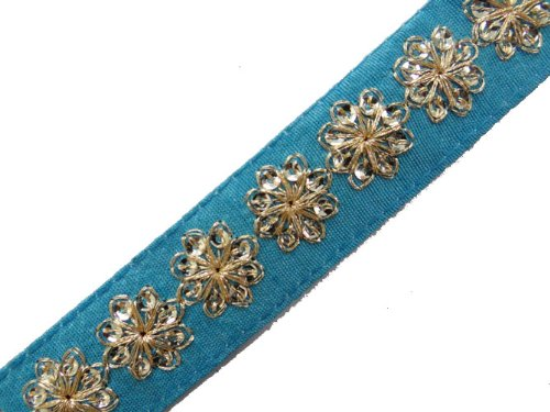 1 Y Thin Blue Base Gold Sequin Thread Cord Ribbon Trim Craft Lace