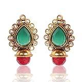 Adiva Copper Stud Earring For Women (Red)