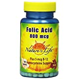 Nature's Life Folic Acid Tablets, 800 Mcg, 100 Count (Pack Of 2)