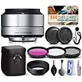 Sigma 30mm F2.8 DN Silver Lens For Panasonic/Olympus Micro Four Thirds (33S963) Includes 3 Piece Filter Set (UV-CPL-FLD...