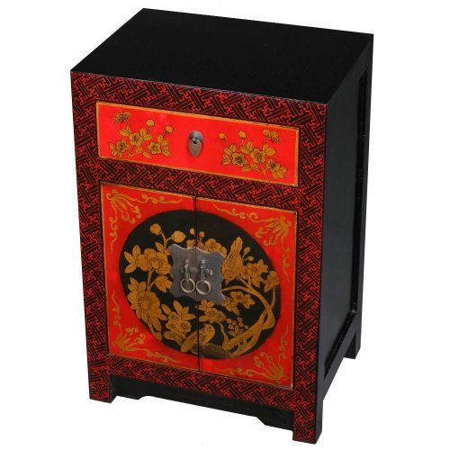 Cheap EXP Handmade Asian Furniture – Red, Black & Gold Storage Cabinet / End Table – Floral Motif (B0011XFA6E)