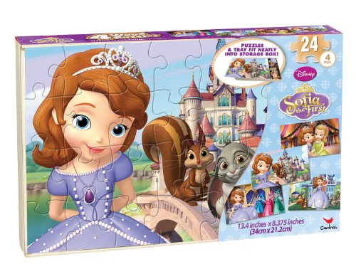 Sophia The First 4 Wood Puzzles in Wood Storage Box