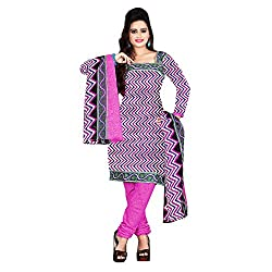 M Fab Printed Pink Cotton Un Stitched Dress Material