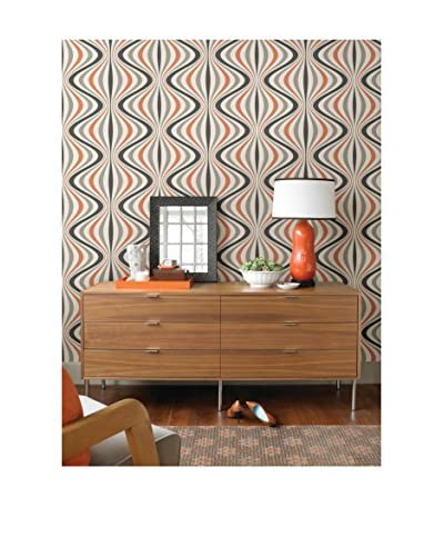 Brewster Hendrix Gravure Ogee Strippable Wallpaper, Orange