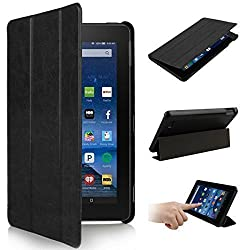 2015 New Fire 7'' Case - Premium Leather Folio Stand Case Cover for Amazon New Fire 7'' Tablet 2015 Version Tablet Only (Black)
