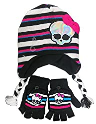 Girls Monster High Knit Black and White Scandinavian Hat and Gloves Set [4011]
