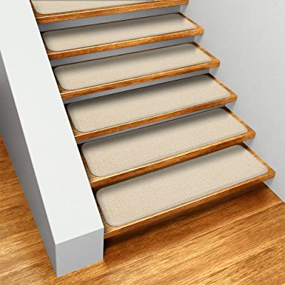 Set of 15 Skid-resistant Carpet Stair Treads - Ivory Cream- Several Other Sizes to Choose From