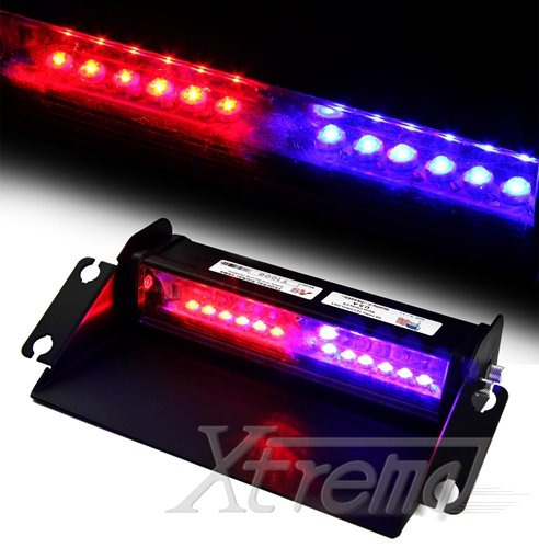 Xtreme® Red & Blue 12 Led Aluminium Material High Intensity Led Law Enforcement Emergency Hazard Warning Lightning Strobe Lights For Interior Roof / Dash / Windshield With Suction Cups