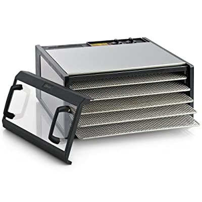 Excalibur Dehydrator 5-Tray Clear Door Stainless Steel w/Stainless Steel Trays by Excalibur Dehydrators