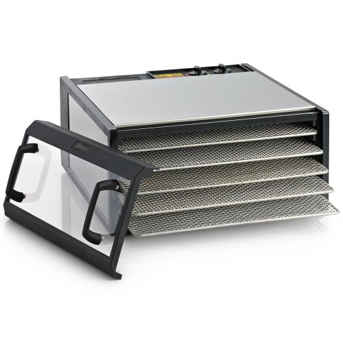 Excalibur Dehydrator 5-Tray Clear Door Stainless Steel W/Stainless Steel Trays front-362274