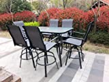 Seating for 6 people with this beautiful sling patio bar set