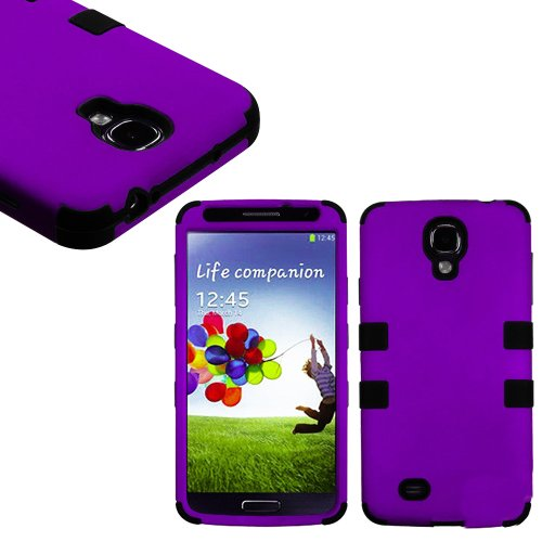 "Mylife (Tm) Purple And Black - Smooth Color Design (3 Piece Hybrid) Hard And Soft Case For The Samsung Galaxy S4 ""Fits Models: I9500, I9505, Sph-L720, Galaxy S Iv, Sgh-I337, Sch-I545, Sgh-M919, Sch-R970 And Galaxy S4 Lte-A Touch Phone"" (Fitted Front And B"