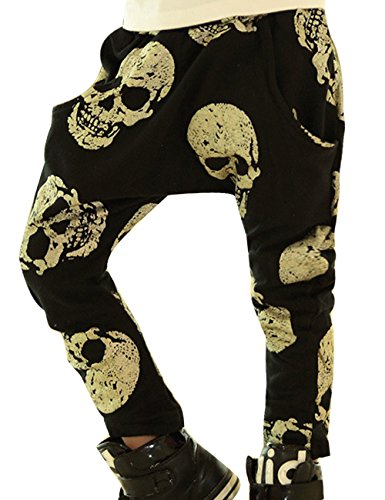 Little Hand® Bambini Harem Pants Allentate Casuali Danza Hip Hop Pantaloni Skull Stampa tasca Estate Autunno 1-5 anni
