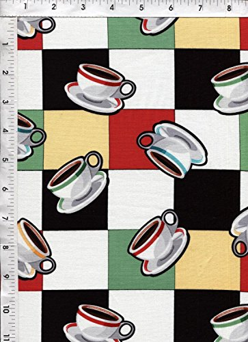 "Kanvas ""Arnold's Diner"" Coffee Cup of Joe Checkered Retro Fabric"