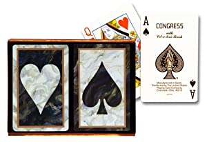 Congress Bridge Size Playing Cards ? Black Marble Standard Index (2 Deck Set) at Sears.com