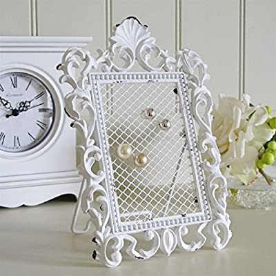 White Ornate Jewellery Frame For Displaying Earrings Vintage Style