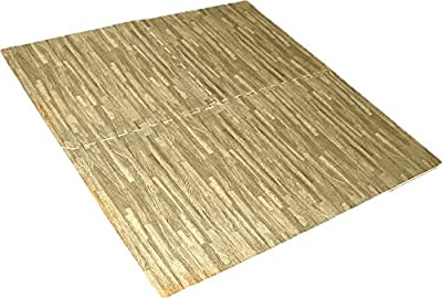 HELIOS 4 Piece Cushioned Floor Mats, Oak Wood Flooring: D6400-4-OAK