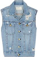 Current Elliott Sleeveless Rider Jacket in Tattered Denim