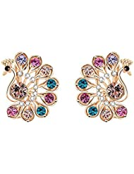 WAAH WAAH Gold Plated Cubic Zircon Earrings Set For Women (Wonder Peacock)