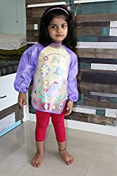 PIGLOO Kids Long Sleeved Waterproof Smock Apron Bib for Painting, Art & Craft, Eating, Age: 3-5 Years (Pattern: Bird)
