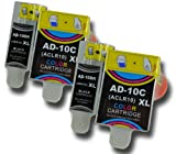 The Ink Squid 2 Sets Of Advent 10 Abk10 /Aclr10 Xl Black And Colour High Capacity Compatible Ink Cartridges For Advent A10 Aw10 And Awp10 All-In-One Printers