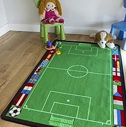 Kids Euro Football Mat Fun Non Slip Childrens Green Soccer Area Rugs 100cm x 150cm