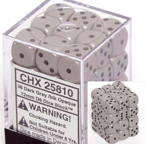 Chessex Dice d6 Sets: Opaque Grey / Gray with Black - 12mm Six Sided Die (36) Block of Dice