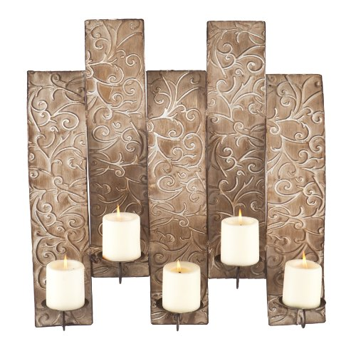Southern Enterprises Catherine Wall Mount Candelabra, Antiqued Silver
