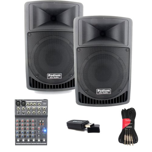 "Podium Pro Audio Pp806A Battery Powered 8"" Active Speakers Mp3 800W With Bluetooth, Mixer And Cables Pp806Aset3B"