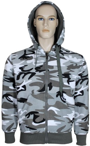 Mens Camouflage Hoodie Fleece Material Zip Up Army Print Hooded Jacket (Small, Grey)