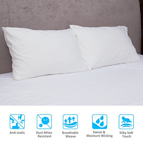 toplus 2pack queen size pillowcases 100 brushed microfiber pillow protector ultra soft wrinkle resistant allergy protection