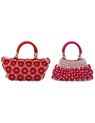 Virali Rao Women's Hand-held Bags Combo, Pink, Red