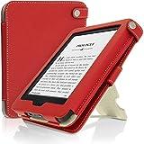 igadgitz Rot PU Ledertasche Hülle für Neu Amazon Kindle 2014 (Touchscreen) 7. Generation mit Betrachtungs + Auto Sleep/Wake + Handschlaufe